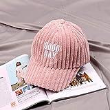 mlpnko Kinder Hut baseballmütze große Haare Ball mädchen Kappe männliches Baby gestickte Buchstaben Cord gebogen Hut rosa 56-59cm