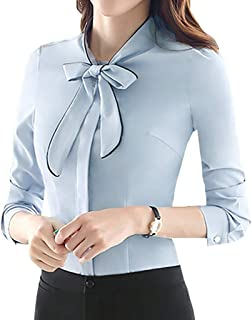 c3325b5304d2 JHVYF Women's Chiffon Long Sleeve Blouse Bow-Tie V Neck Slim Fit Button  Down Shirt