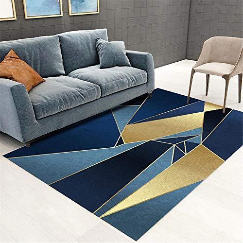 Alfombra Dormitorio Infantil Alfombra triángulo azul patrón abstracto salón suave alfombra estilo moderno Alfombras Dormitorio Pie De Cama Antideslizante Para Alfombras azul Los Kunsen 80X120CM
