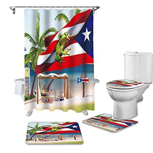 BANLV Palmera Puerto Rico Bandera Rana Playa Durable Impermeable Cortina de Ducha Juego Alfombra de baño Alfombra Alfombra de Inodoro Alfombrilla de Suelo