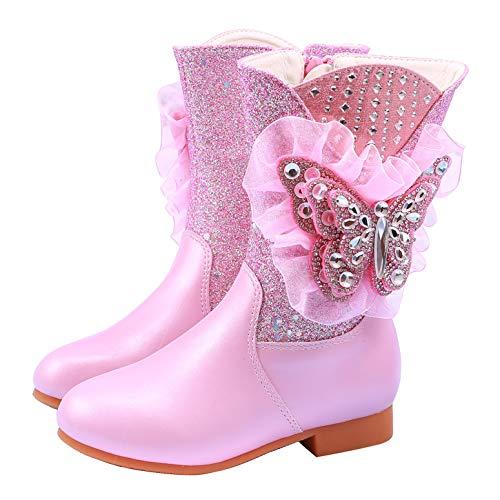 YOSICIL Botas de Nieve con Lentejuelas Botas de Invierno con Forro clido con Cremallera Botas Antideslizantes Forrado de Piel Sinttica Zapatos de Princesa Elsa 26-36EU