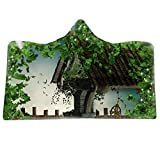 Comfy 3D Print Fantasy Vert Paysage Motif Couverture À Capuche Couverture De Flanelle Garçon Jeter Cape Peignoir Confortable, pour Couch Daybeds Camping Lits Couverture Pépinière,M,Adults