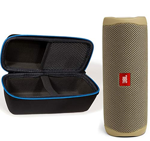 JBL Flip 5 Waterproof Portable Wireless Bluetooth Speaker Bundle with divvi! Protective Hardshell Case - Sand