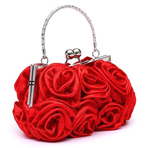 Bodhi2000 - Borsa da sera, da donna, a tracolla, per matrimonio Rosso Etichettalia unica