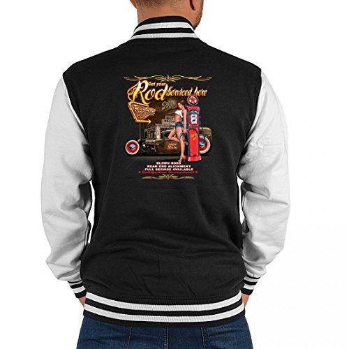 Goodman Design  USA Biker College-Jacke - Oldtimer Girl mit Tankstelle - Geschenk-Idee mit American Hot Rod V8 Motiv für Herren, Größe:XL