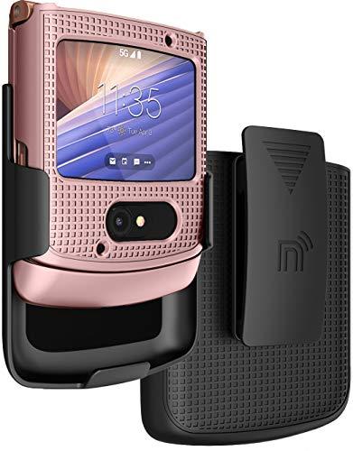 mit Clip für Motorola RAZR 5G Flip Phone, Nakedcellphone [Rose Gold Pink] Hartschale Slim Cover mit [Rotation/Ratsche] Gürtel Hip Holster Halter Combo für Moto RAZR 5G Flip Phone (2020) XT2071