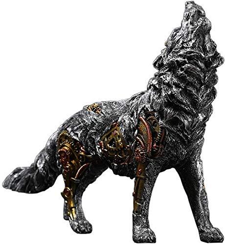 aipipl Decoración de Estatua de Lobo, Escultura de Lobo mecánico de Resina Creativa Modelo decoración de artesanía decoración de Escritorio de Oficina en casa H26Cm