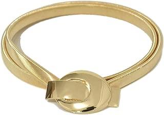 Ashion wild light body buckle elastic spring waist chain Women's metal waist chain f (Color : Gold, Size : 70cm)