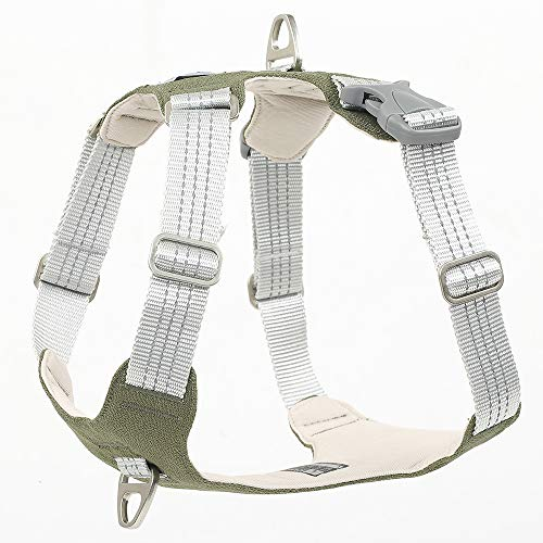 Dog Harness Heavy Duty 3M Reflective Oxford Puppy Vest Non Pulling with 2 Leash Clips(Green,XL)