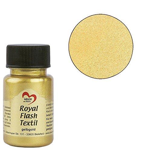 Royal Flash Textil, Glitzer-Metallic-Farbe   hochdeckend, cremige Textilfarbe auf Wasserbasis   für helle und dunkle Textilien   50 ml (gelbgold)