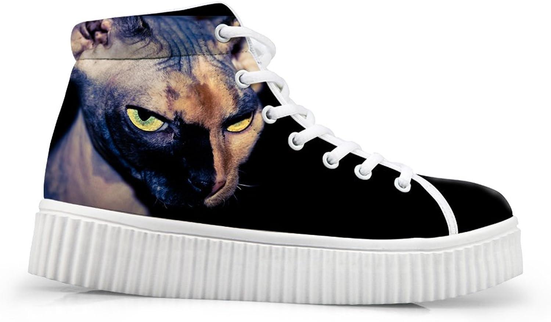 Cute Cat Print Women Fashion Sneaker High Top Round Toe Platform shoes US 10