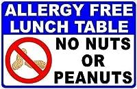 コレクタブルウォールアート、アレルギーフリーランチテーブルサイン。ナッツやピーナッツはありません公園の標識公園ガイド警告標識私有地の金属屋外の危険標識