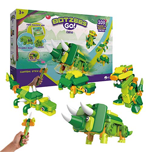 BOTZEES GO! Dinosaur Robot Toys, Building & Electric Remote Control Toys, Educational STEM Toys, Creative Building Kits, Learning Toys for Kids Ages 3+, Boys Toys, with RC Magic Stick, App Based