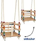 alles-meine.de GmbH Gitterschaukel - UMBAUBAR - incl. Name - mit abnehmbaren Gurt - Schaukel aus Holz - mitwachsend & verstellbar - Babyschaukel / Kinderschaukel - Leichter Einst..