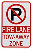 ZING 2468 Eco Parking Sign, Legend'NO Parking Symbol FIRE Lane', 12' Width x 18' Length, Recycled Aluminum, Engineer Grade Prismatic, (Pack of 1)