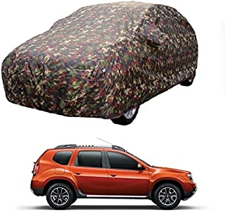 MotRoX Car Body Cover for Renault Duster with Side Mirror Pocket (Military Color)