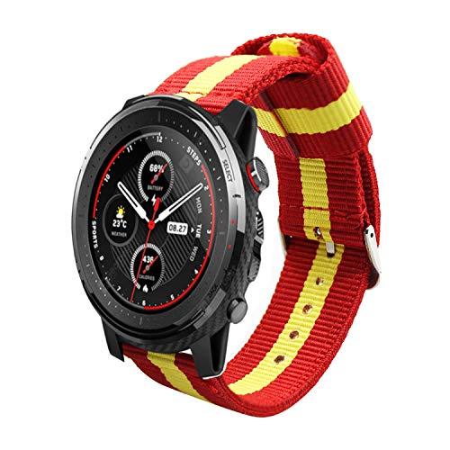 Estuyoya - Nylon armband compatibel met Xiaomi AMAZFIT Stratos 3 /Stratos 2/Stratos 2S /Amazfit GTR/Amazfit Pace/Kleuren Vlag van Spanje 22mm Verstelbaar Ademend Sportief Casual Elegant - Rood-Geel