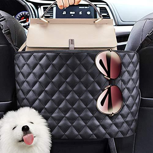 ESTPEAK Car Handbag Holder, Large Capacity Bag Between Car Seats, [Premium PU Leather] [Compatible with the Front Opening Armrest Box]Adjustable Car Handbag Holder, Barrier of Backseat Pets Kids
