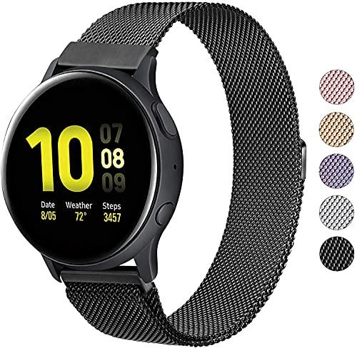 Wanme Correa Compatible con Samsung Galaxy Watch Active/Active 2 40mm 44mm, 20mm Metal Pulsera de Repuesto de Acero Inoxidable para Galaxy Watch 3 41mm / Gear S2 Classic/Gear Sport (Negro)