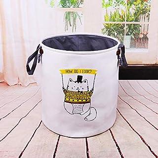 Home Canvas Folding Storage Basket Baby Toy Storage Laundry Basket Stylish Double Layer Canvas Storage Hamper Round Laundr...