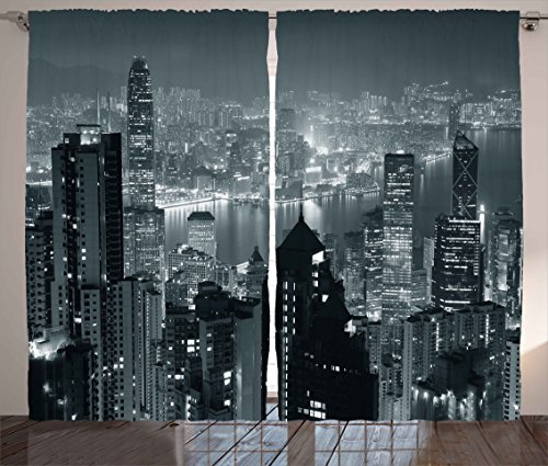 "Ambesonne City Curtains, Aerial Night of View Hong Kong Skyline Famous Modern Urban Town Metropolis Panorama Image, Living Room Bedroom Window Drapes 2 Panel Set, 108"" X 84"", Grey"
