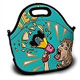 Bolsa de almuerzo de neopreno, para mujer, con megáfono, anuncio publicitario, lonchera, lonchera, bolsa con correa ajustable para el hombro, para el trabajo, la escuela, el picnic al aire libre