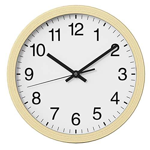 NUOVO Horloge murale ronde en bois clair de 25,4 cm silencieuse et sans tic-tac, horloge murale rétro pour salon, chambre à coucher, cuisine (26 cm)