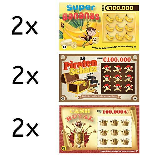 Rubbellos Scherzartikel - Fake Lotto Gewinn - Jedes Los beinhaltet einen Jackpot - Der ultimative Streich Lachen - Realistisch wirkender Lotto MEGA Jackpot! (6er Pack)