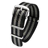PBCODE Correas de reloj Cinturones de seguridad Correas de nylon Nato Hebilla pulida resistente 20mm Negro y gris James Bond 007