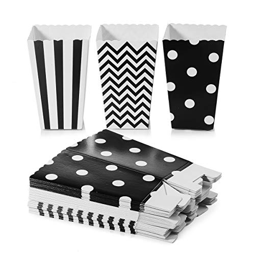 Oumezon 38 Stück schwarz Weiss Popcorn Boxes, schwarz Weiss popkornbox Black,Schwarz Popcorn Tüten Papertüte Popcorn-Boxen für Party Snacks,Süßigkeiten, Popcorn und Geschenke