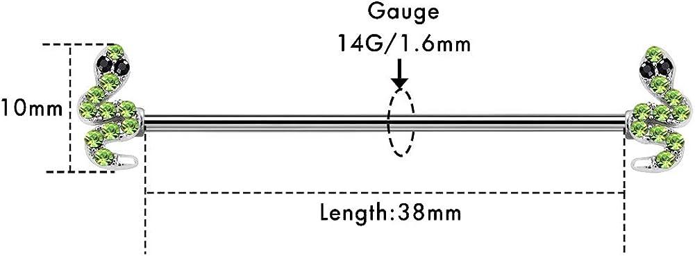 OUFER Snake Industrial Barbells Piercing Cartilage Earrings 14G 316L Surgical Steel Snake Industrial Piercing Jewelry Industrial Barbells