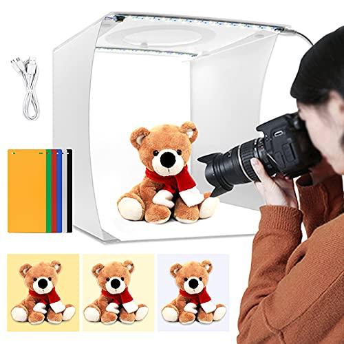 Light Box Fotografia, 9 pollici/23 cm Mini Studio Light Box Kit Portatile Pieghevole Tenda Fotografica Studio con 3 Modalità (Bianco/Morbido/Caldo) Dimmerabile 64 LED Perline e 6 Colori Fondali