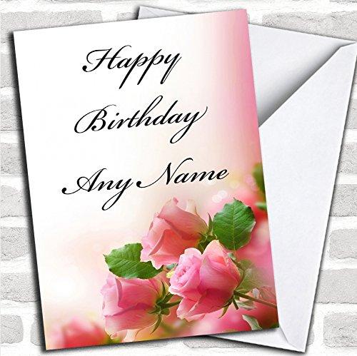 Leuke roze rozen romantische verjaardagskaart met envelop, volledig gepersonaliseerd, snel en gratis verzonden