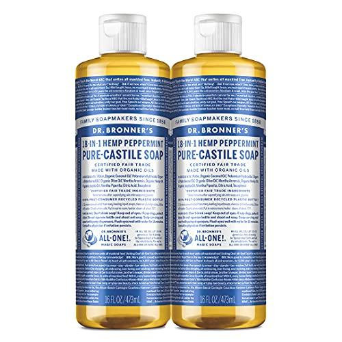 Dr. Bronner's Pure-Castile Liquid Soap, Peppermint, 16 oz (Pack of 2)