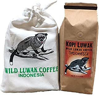 Kopi Luwak Coffee, Sustainably Sourced, World's Most Expensive Coffee, Whole Bean, Fresh Roasted, 16-ounces