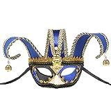 BESTOYARD Máscara de Media Cara Veneciana Máscara de Jolly Jester Máscara de Disfraces de Carnaval Mascarada Disfraz de Bola de fantasía Máscara (Azul)