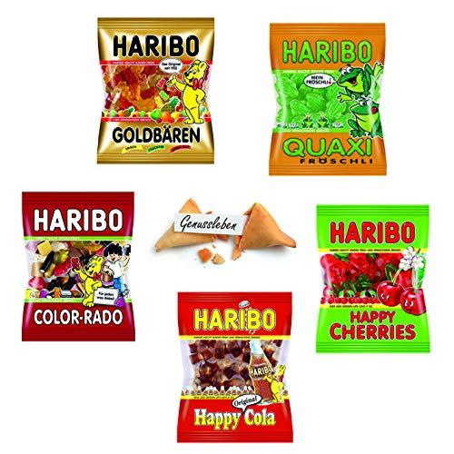 Haribo 5er Set Bundle 1kg Mix je 200g Goldbären, Frösche, Color Rado, Happy Cherries, Happy Cola und 1 Genussleben Glückskeks Gratis
