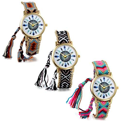 JewelryWe Damen 3PCS Geflochten Armbunduhr,Jugendliche Mädchen Armreif Uhr, Vintage Indianerstämme Zifferblatt, Einstellbar Quarzuhr, Mehrfarbig