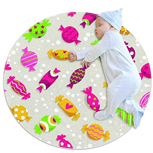 laire Daniel Kleurrijke Snoepjes Baby Ronde Speel Pad Crawling Mat Crawl Kussen Air-Conditioned tapijt voor Kinderen Peuters Slaapkamer, 27.6x27.6IN