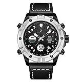 CALUXE Militare Sport Digitale Dual Time Orologio Uomo Cronografo Calendario Allarme Multifunzione Impermeabile Casual Cinturino In Pelle Orologi Da Polso