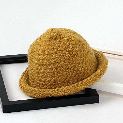 TININNA Automne et Hiver Chaud Mignon Crochet Tricoté Chapeau en Laine Roll Up Cap Chapeau Bonnet Casquettes Seau Capuche pour Bébé Filles Garçons Jaune