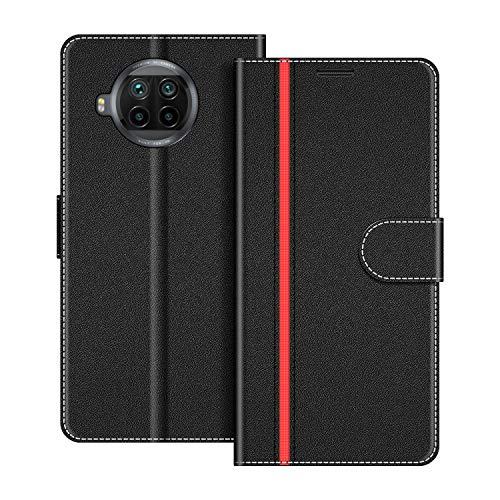 COODIO Handyhülle für Xiaomi Mi 10T Lite Handy Hülle, Xiaomi Mi 10T Lite Hülle Leder Handytasche für Xiaomi Mi 10T Lite Klapphülle Tasche, Schwarz/Rot