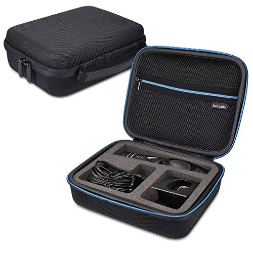 kwmobile custodia Compatibile con Panasonic ER-GP80 - astuccio rigido per tagliacapelli rasoio regolabarba con scomparto lamette testine caricabatterie accessori - nero