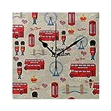 ZSHMG Reloj de Pared Vintage Abstract London Pattern Girls Boys Square Silencioso Sin tictac Impresión Acrílico 7.8 Pulgadas Non Ticking Desk Clock