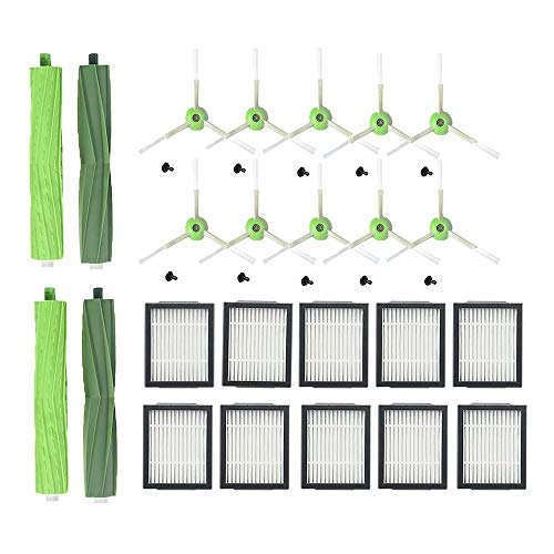 ANBOO Replacement Kit for iRobot Roomba i Series i7 i7+ E5 E6 Robotics Vacuum Cleaner,2 Set Multi-Surface Rubber Brush,10 High-Efficiency Filter,10 Side Brushes