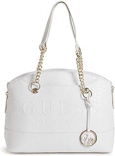 Guess Women's Celora Logo Satchel Handbag, Faux Leather - White