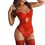 Aniywn Lace Bodysuit One Piece Lingerie for Women Deep V Neck Sexy Lace Bodysuit Babydoll Underwear Red