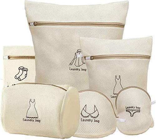 Bolsas de malla para lavandería Reutilizar bolsa de lavadora duradera para blusas delicadas, medias, ropa interior, sujetadores, lencería Ropa de bebé (Embroidered)