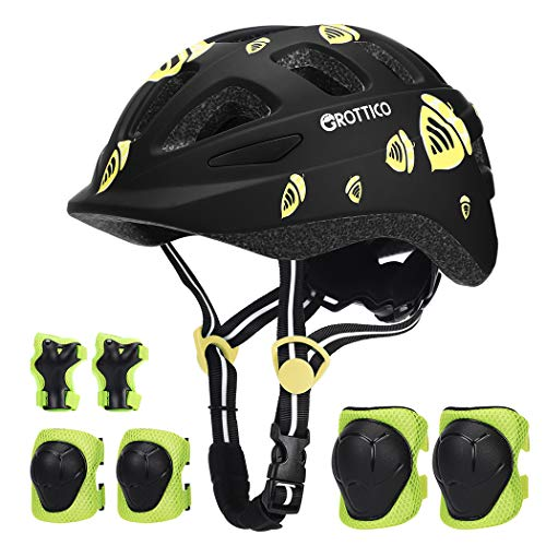 Toddler-Kids Ultralight Helmet with Knee-Elbow-Wrist-Pads - Acorn Pattern Adjustable for 2-10 Years Old Boys Girls Bike Skate Scooter