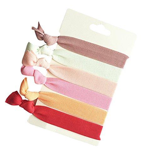 TININNA 6pcs Femmes Filles Ruban élastique Bandeau Serre-tête Porte-Queue de Cheval Bandes de Cheveux Accessoires Hairband Hairwrap Rouge